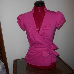 Express Design Studio Pink Belted Wrap Blouse Top
